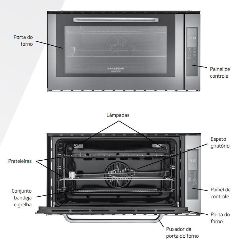 Forno Elétrico Brastemp Gourmand de Embutir 105 litros - BOC90 - componentes