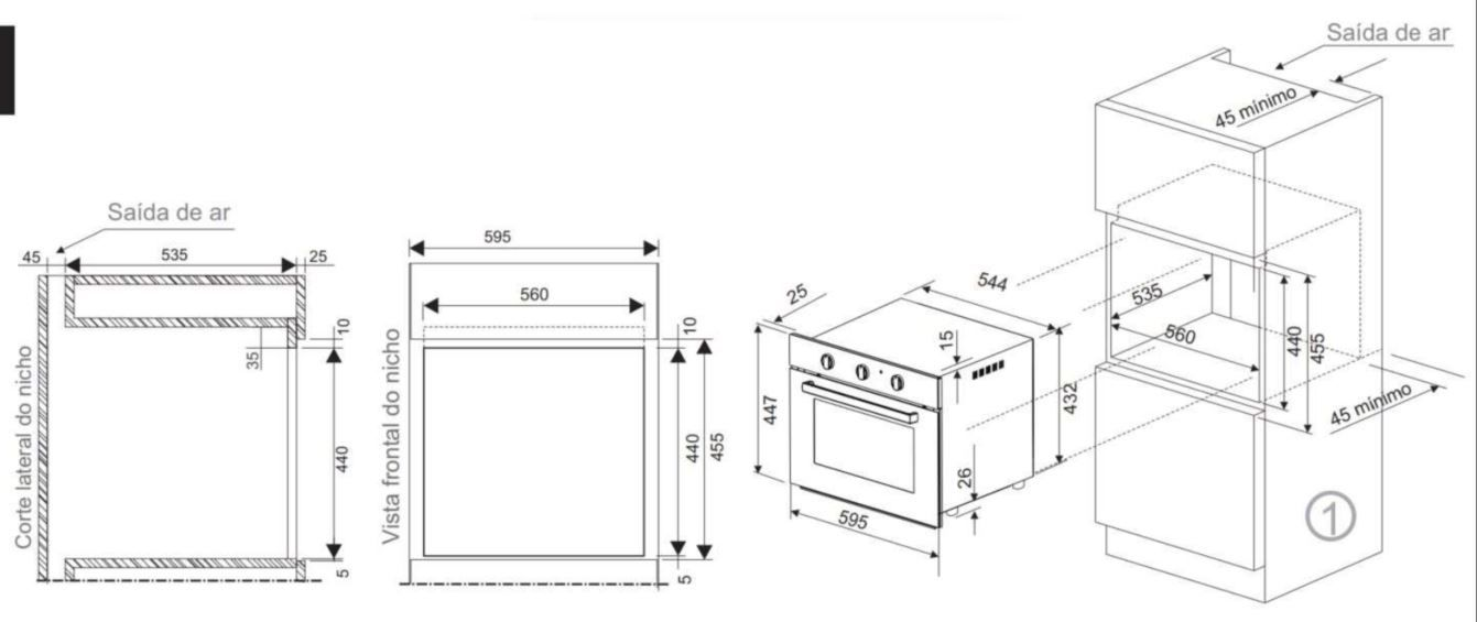 Forno Elétrico Fischer Infinity 50 litros - 15740 - Instalação