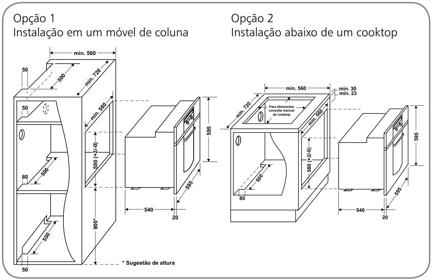 Forno elétrico Brastemp de Embutir 67 litros - BO160 - Instalação