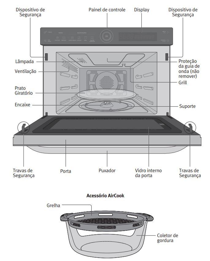 Microondas Electrolux 32 litros com Aircook - MGA42 - descrição