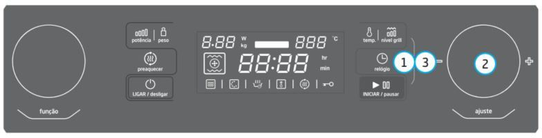 Microondas Midea - como ajustar relógio - MYAC72