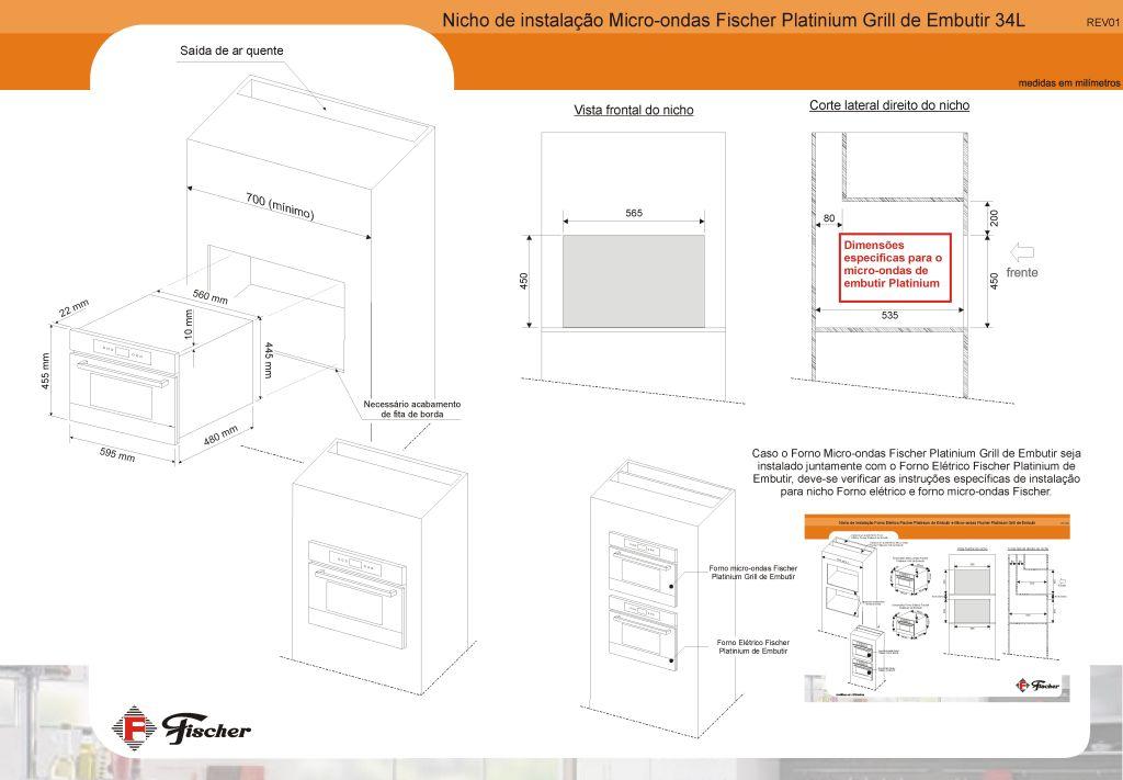 Microondas inox de embutir Fischer 34L 17411 - instalação