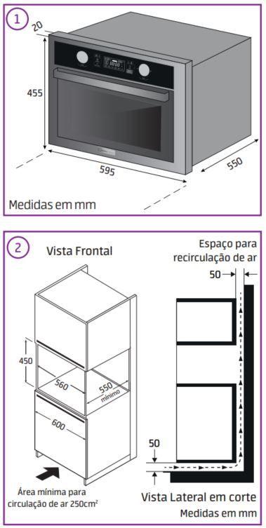 Forno com Microondas de Embutir 45L Midea Desea MYAC72 - Instalação