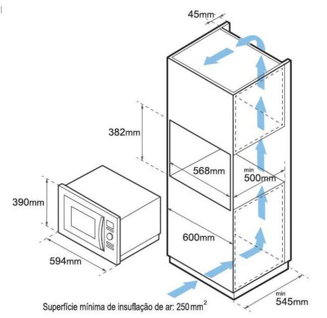 Microondas Tecno 25L Combinado Velox TM25 - Instalação