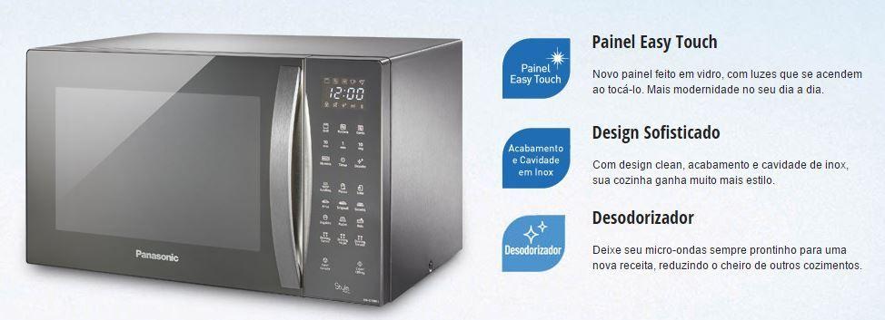 Microondas Panasonic 30L Style Grill Inox NN-GT696SRU - Destaques