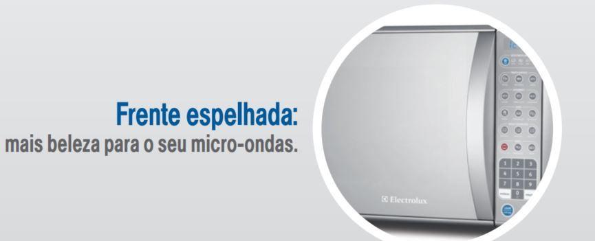 Microondas Electrolux 31L Porta Espelhada com Grill MEV41 -frente espelhado