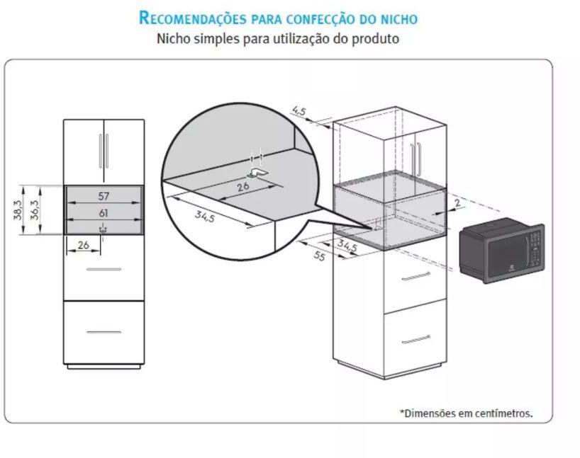 MICROONDAS ELECTROLUX DE EMBUTIR 28 LITROS – MB38T - Instalação