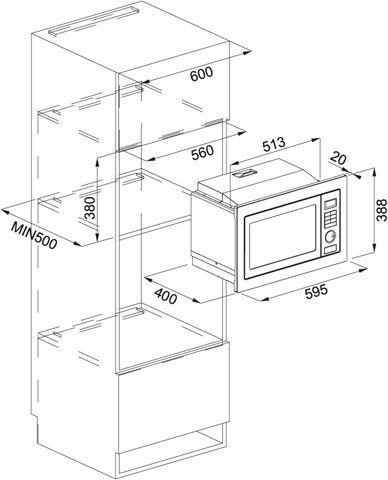 Micro-ondas de embutir Franke 25 litros - Dimensões do nicho de instalação