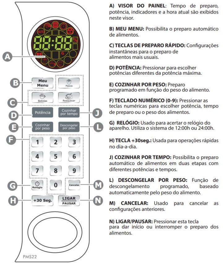 Como ajustar o relógio do Microondas Philco 19 litros Colors - PMS22