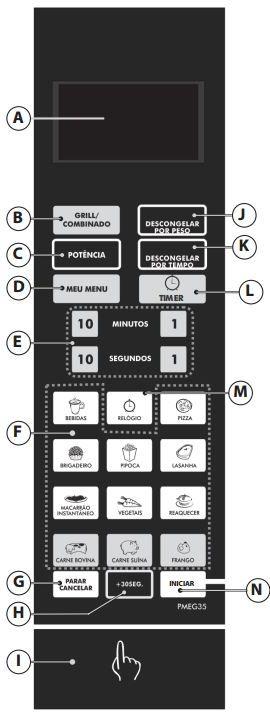 Microondas Philco 31L Porta Espelhada com Grill PMEG35 - Painel Controle