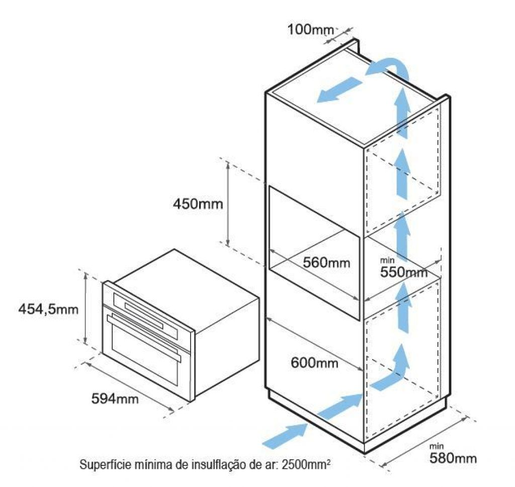 Forno Elétrico com Micro-ondas Tecno 44L TK44 - Instalação