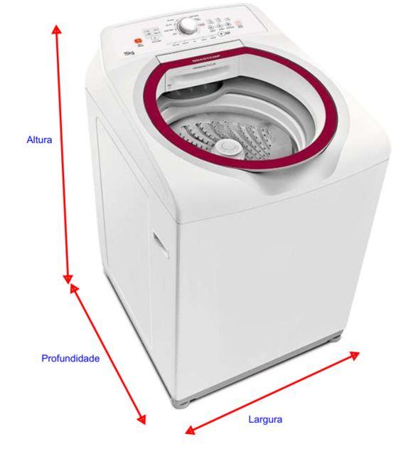 Medidas de máquina de lavar roupa Brastemp