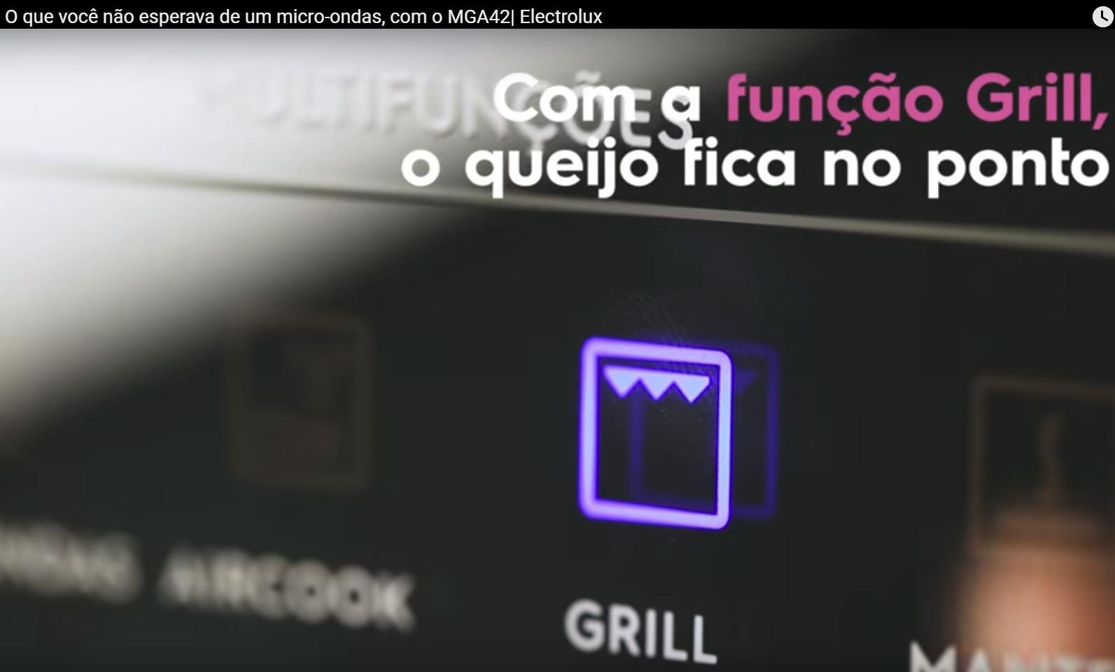 Como utilizar a função grill do microondas Electrolux MGA42 - img video