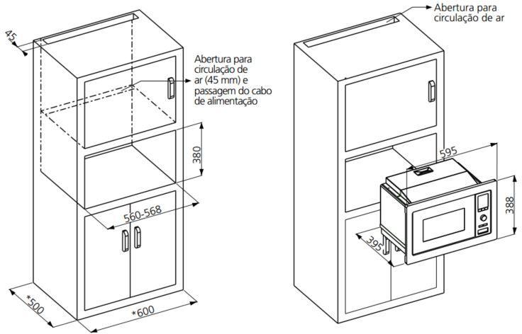 Microondas Tramontina 25L de Embutir com Grill Glass 60- Instalação