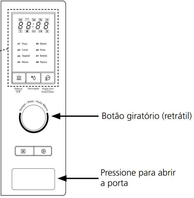 Microondas Tramontina 25L de Embutir com Grill Glass 60- Painel Controle