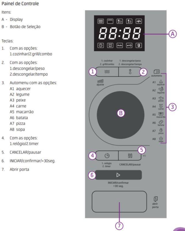 Como ajustar a potência do Microondas de embutir Midea Desea 25 litros-MSAG3