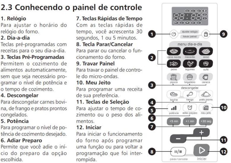 Como ajustar a potencia do microondas Brastemp 38 litros - Painel Controle