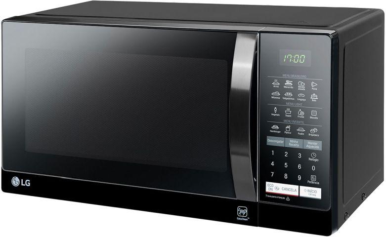 Microondas cor preta LG 30 litros Preto e Espelhado - MS3057Q
