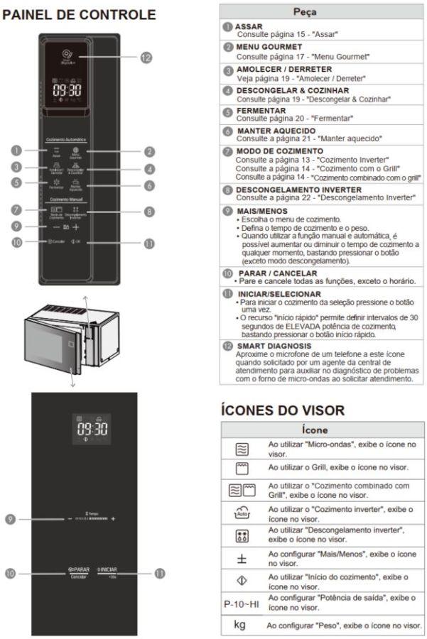 Como ajustar a potência do microondas LG com Grill Smart Inverter NeoChef MH8297