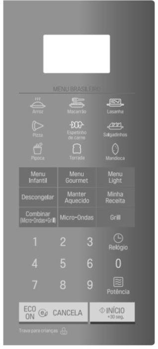 Como ajustar a potência do microondas LG 30 litros com Grill MH7057 - Painel Controle