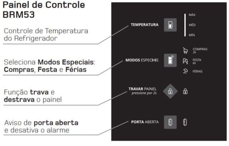 Como ajustar a temperatura da Geladeira Brastemp Frost Free Duplex 400 litros - BRM53 - painel