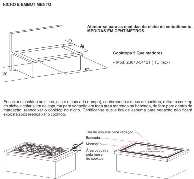 Dimensões do Nicho para Cooktop Gás 5 Queimadores Fischer 23678