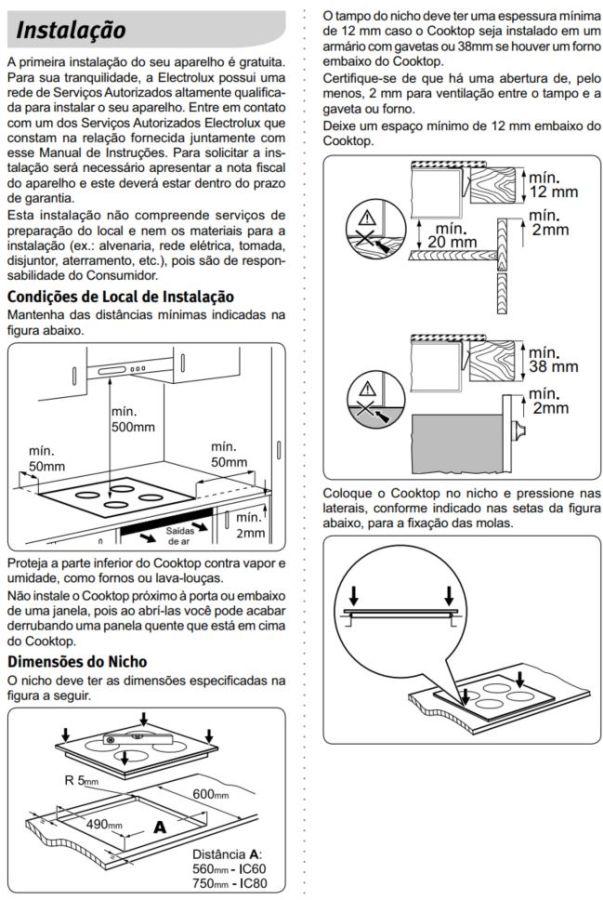 Dimensões do Nicho para Cooktop de Indução Electrolux 4 Queimadores - IC60