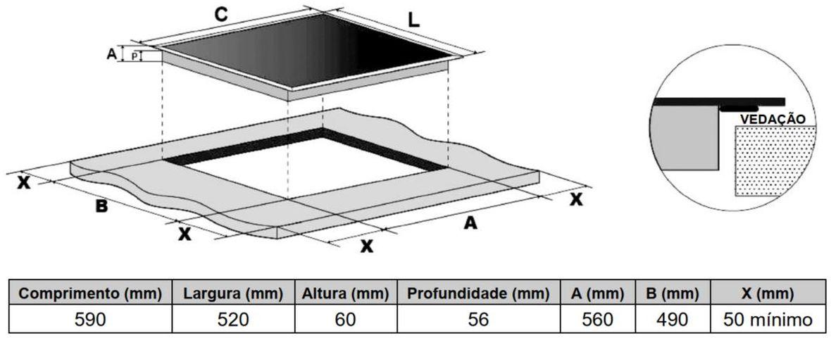 Dimensões do Nicho para Cooktop de Indução Panasonic - KY-R646