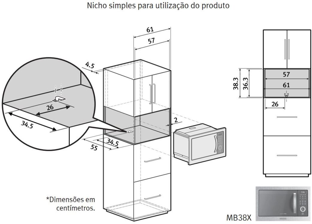 Local da Instalação do Microondas Electrolux 28 litros de Embutir Home Pro - MB38X
