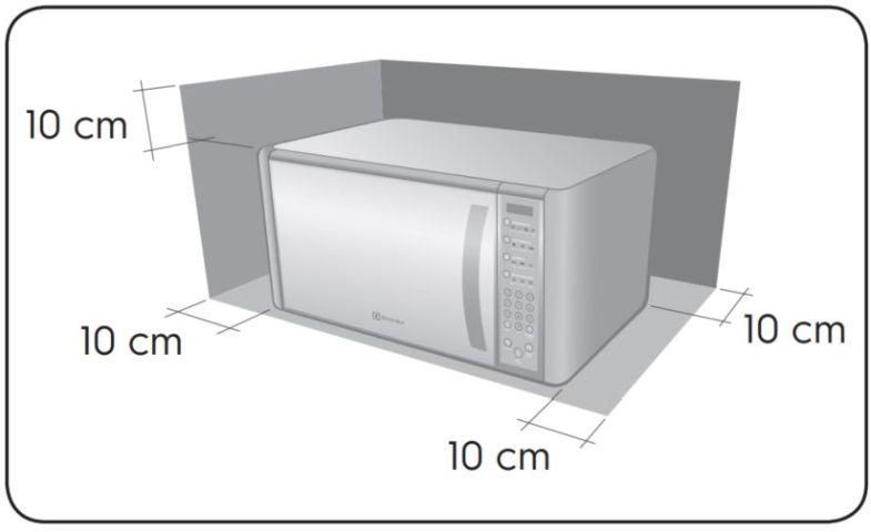 Local da Instalação do Microondas Electrolux 31 litros Blue Touch Espelhado MEC41