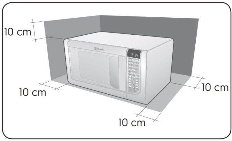 Local da Instalação do Microondas Electrolux 31 litros com Grill MEG41