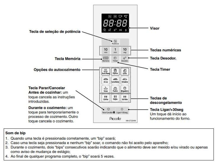 Como ajustar o relógio doMicroondas Panasonic 25 litros Branco - NN-ST35HW
