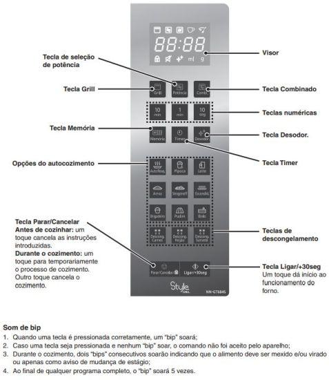 Como ajustar o relógio do Microondas Panasonic 30 litros Inox Grill - NN-GT684SRU