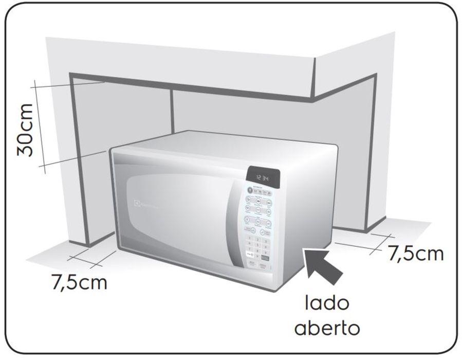 Local da Instalação do Microondas Electrolux 20 litros Faça Fácil MEF30
