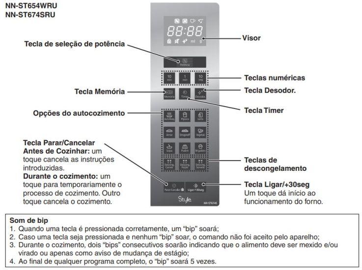 Como ajustar o relógio do Microondas Panasonic 32 litros Branco - NN-ST654WRU