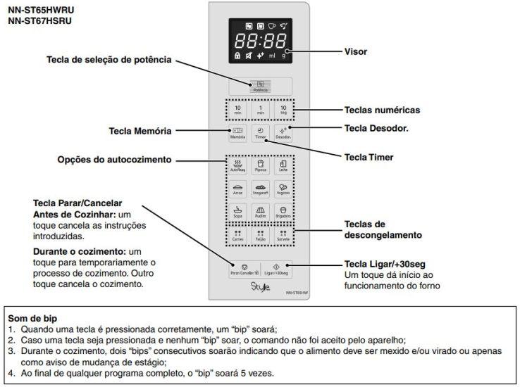 Como ajustar o relógio do Microondas Panasonic 32 litros Branco - NN-ST65HW