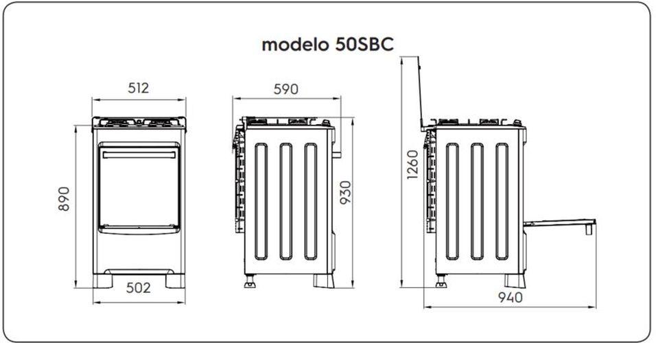 Medidas do fogão Electrolux 4 bocas 50SBC