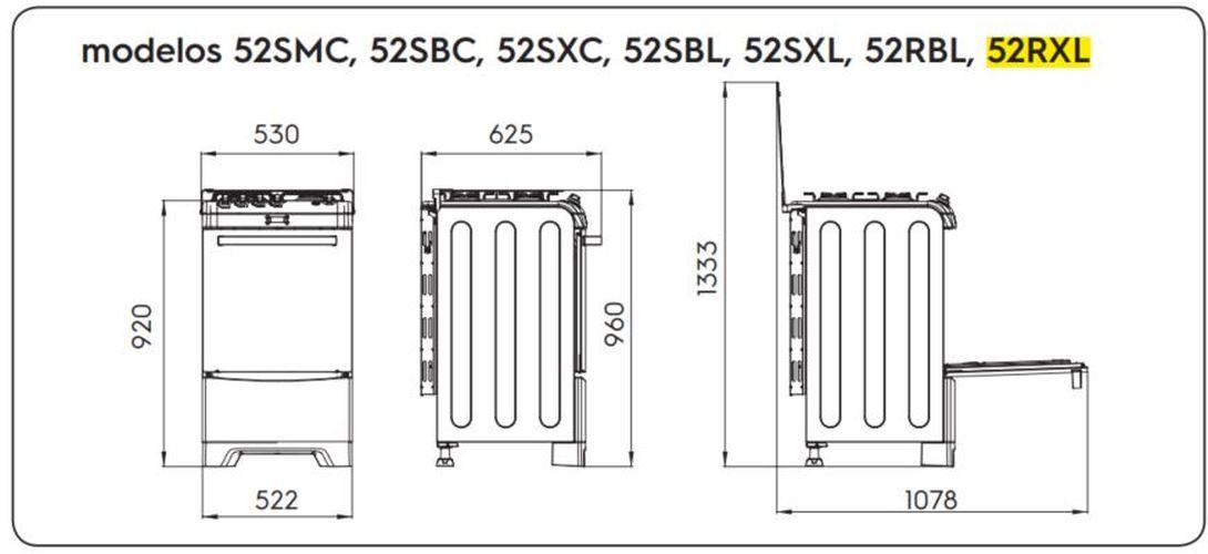 Medidas do fogão Electrolux 4 bocas - 52RXL