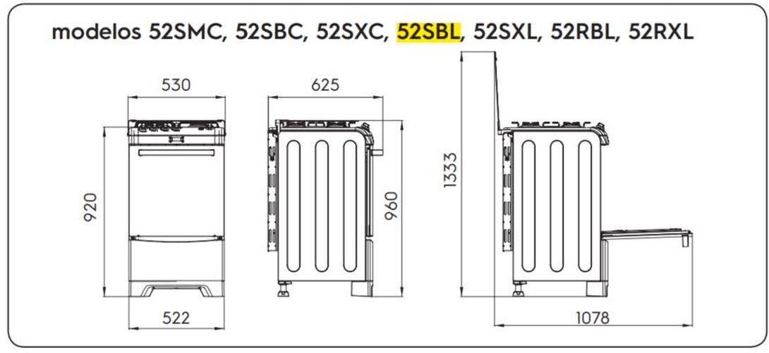 Medidas do fogão Electrolux 4 bocas - 52SBL