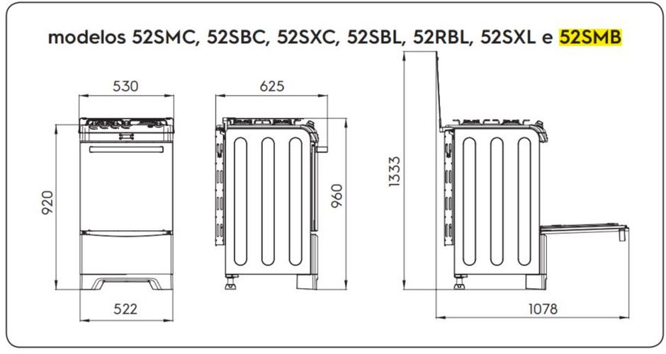 Medidas do fogão Electrolux 4 bocas 52SMB