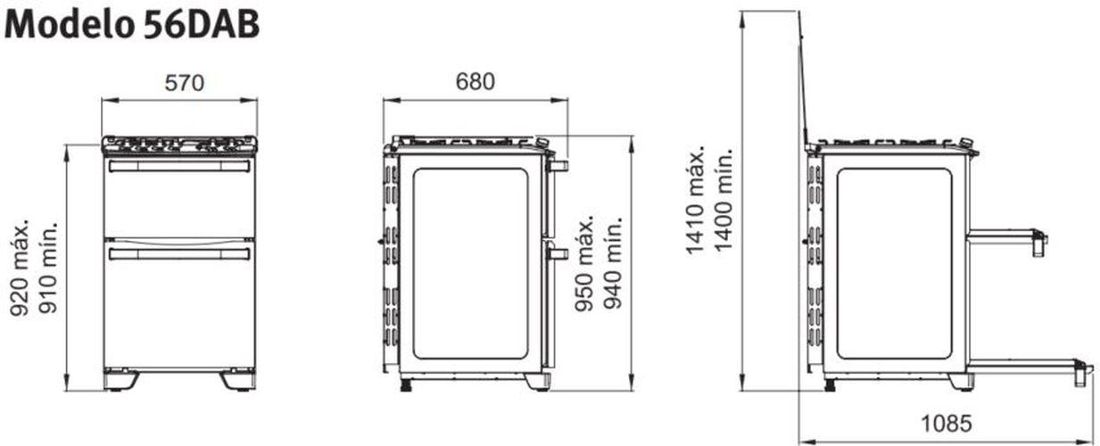 Medidas do fogão Electrolux - 56DAB