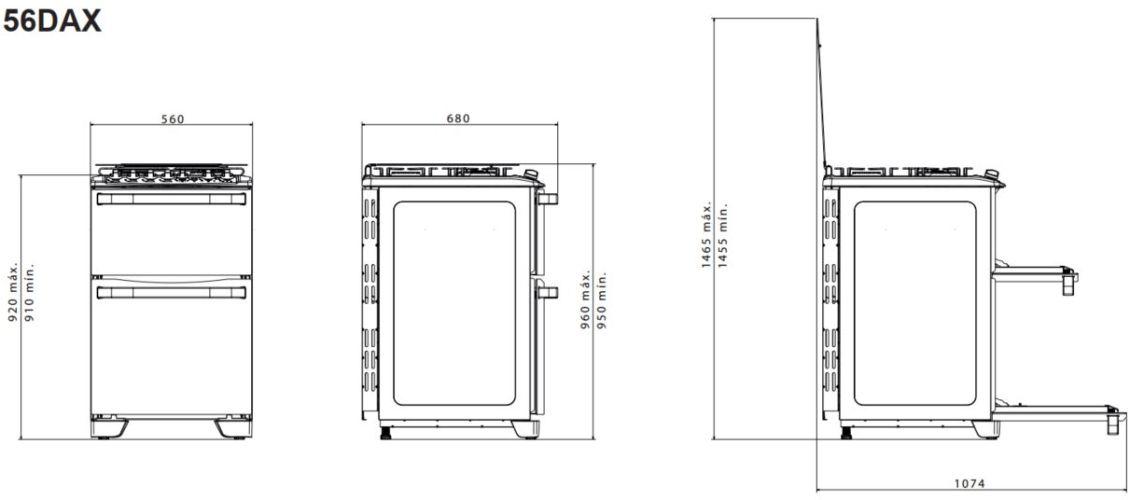Medidas do fogão 4 bocas Electrolux - 56DAX