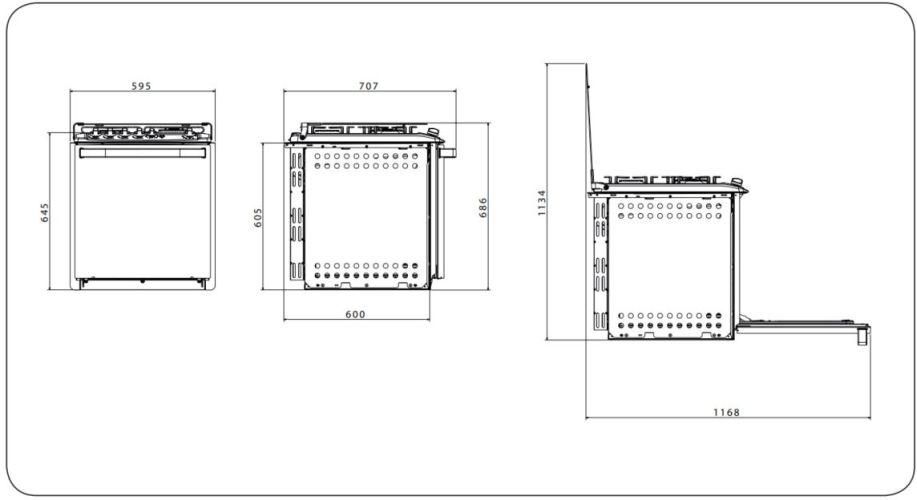 Dimensões do fogão Electrolux de embutir - 56AEB