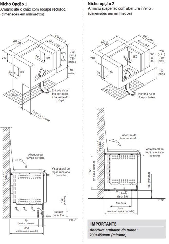 Fogão Electrolux 56EAX - Nicho de instalação - opção 1 e 2