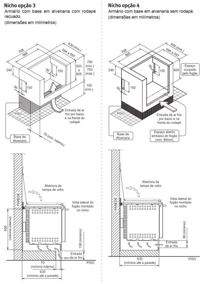 Fogão Electrolux 56EAX - Nicho de instalação - opção 3 e 4
