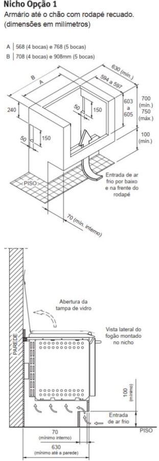 Fogão Electrolux 56TBE - Nicho de instalação - opção 1