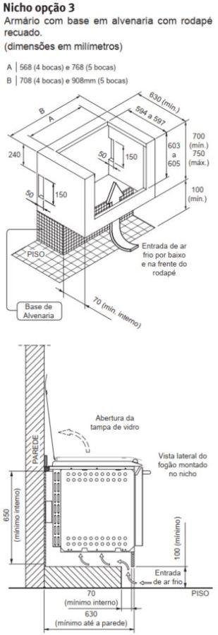 Fogão Electrolux 56TBE - Nicho de instalação - opção 3
