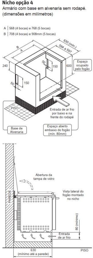 Fogão Electrolux 56TBE - Nicho de instalação - opção 4