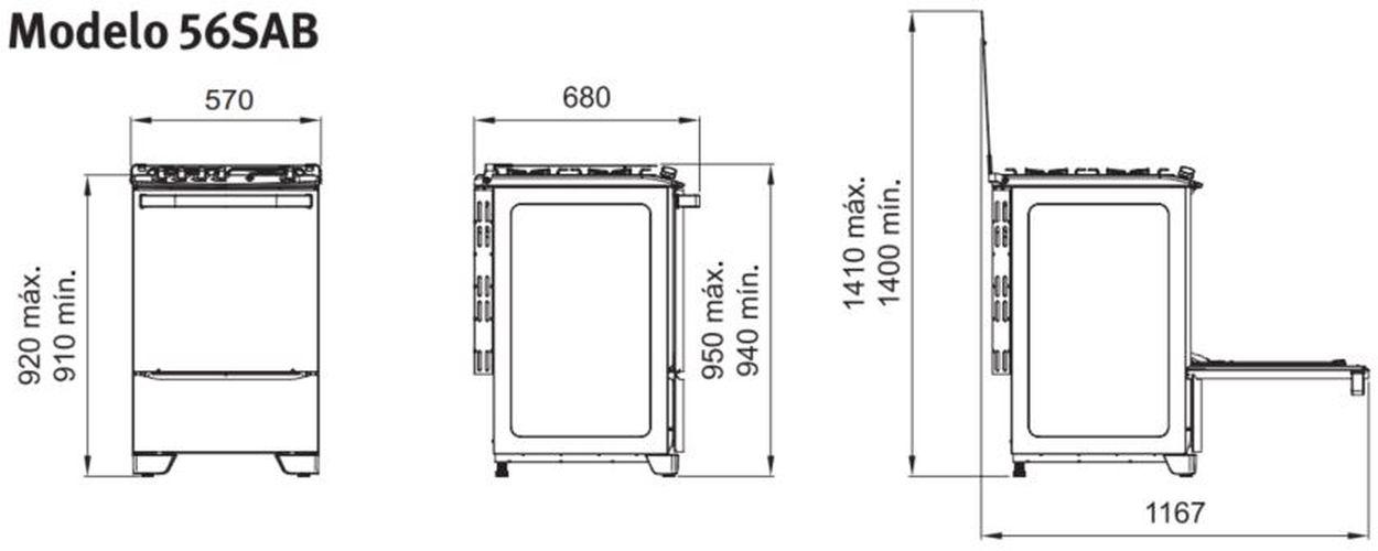 Medidas do fogão Electrolux 4 bocas - 56SAB