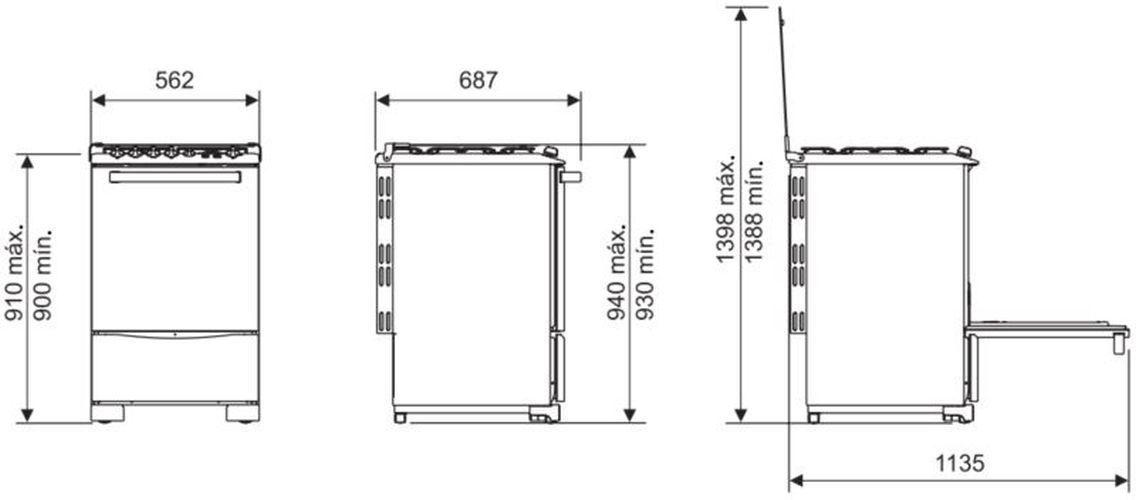 Medidas do fogão Electrolux 4 bocas - 56SB